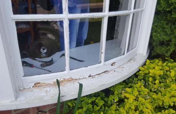 Curved Sash Window Before Repair