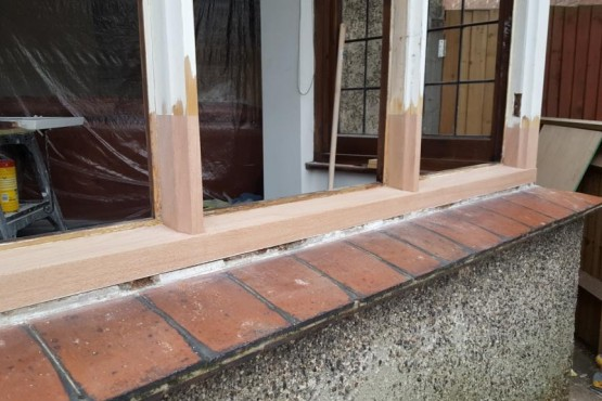 Hardwood window sill replacement